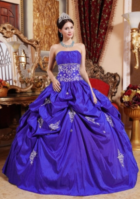 Blue Puffy Strapless Beading for 2014 Quinceanera Dress with Appliques and Pick-ups