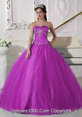 Elegant Fuchsia Strapless Tulle Beading and Ruching Sweet 15 Dresses