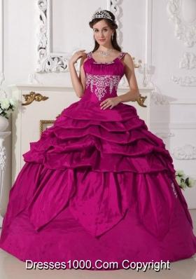Modest Fuchsia Scoop Taffeta Appliques and Pick-ups Quinceanera Dress