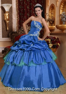 Quinceanera Dress in Blue Puffy for 2014 Strapless with Appliques and Pick-ups