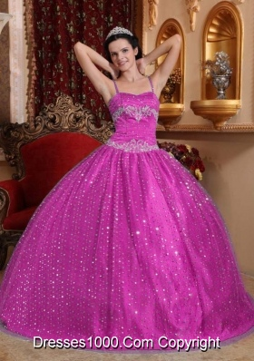 Spaghetti Straps Sequined and Appliques Quinceanera Dress for 2014