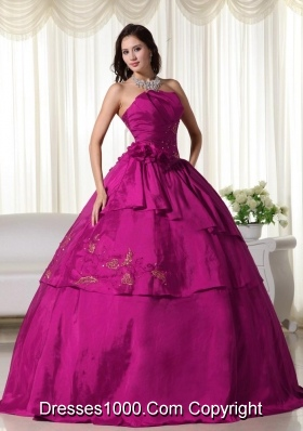 Strapless Fuchsia Hand Flowers and Appliques Quinceanera Gowns