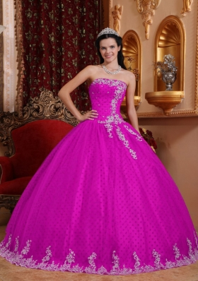 Strapless Special Fabric Quinceanera Gown with Lace Appliques
