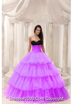 Sweetheart Beading and Ruffled Layers Sweet 16 Dresses with Organza