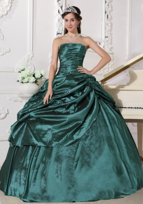 Turquoise Puffy Strapless Beading Quinceanera Dress with Pick-ups for 2014