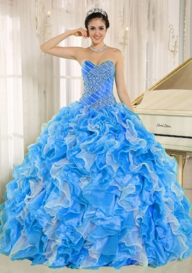 2014 Elegant Custom Made AquaBlue Sweetheart Ruffles and Beading Quinceanera Dresses