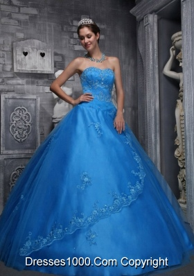 2014 the Super Hot Blue Sweetheart Lace Quinceanera Dress with Beading and Appliques