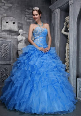 Beautiful Sweetheart Blue Quinceanera Dress with Beading and Appliques for 2014