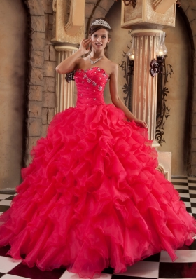 Coral Red Quinceanera Dress Sweetheart Puffy Ball Gown