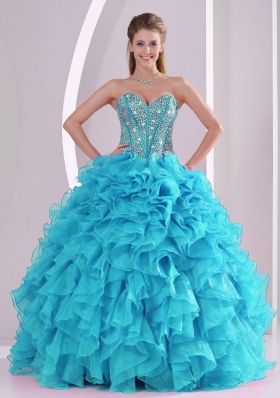 Blue Sweetheart Ruffles and Beaded Decorate Sleeveless Quinceanera Gowns