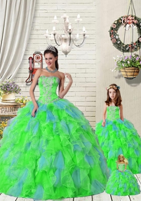 Exquisite Ruffles and Beading Princesita Dress in Multi-color