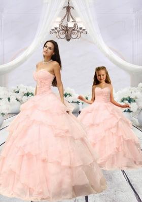 Fashionable Beading and Ruching Princesita Dress in Pink