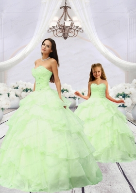 Most Popular Beading and Ruching Light Green Princesita Dress for 2015