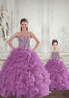 Most Popular Beading and Ruffles Princesita Dress in Light Purple