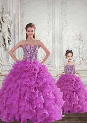 New Arrival Fuchsia Princesita Dress with Beading and Ruffles for 2015