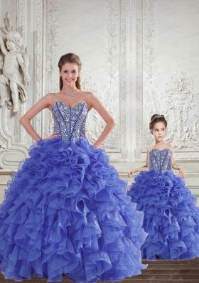 Wonderful  Blue Princesita Dress with Beading and Ruffles