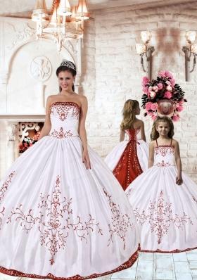 2015 Fashionable Red Embroidery White Princesita Dress