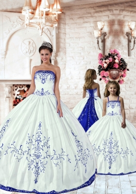 2015 LuxuriousWhite Princesita Dress with Blue Embroidery