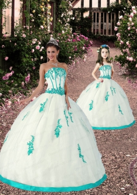2015 Spring Satin and Organza Appliques Princesita Dress in White and Aqua Blue