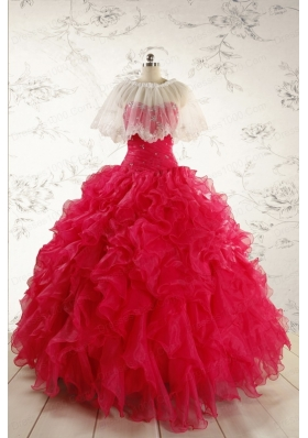 2015 Pretty Beading Red Quinceanera Dresses with Sweetheart
