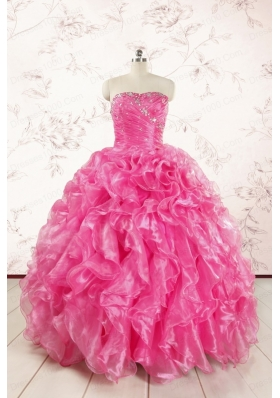 2015 Pretty Hot Pink Quinceanera Dresses with Appliques and Ruffles