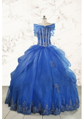 2015 Royal Blue Quinceanera Dresses with Appliques