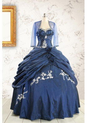 Perfect Sweetheart Navy Blue Quinceanera Dresses with Wraps