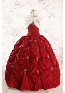 2015 Cheap Appliques Quinceanera Dresses in Wine Red
