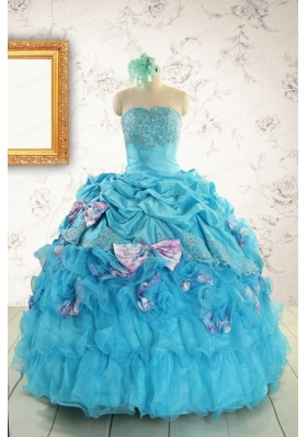 2015 Cheap Aqua Blue Appliques Quinceanera Dresses with Appliques