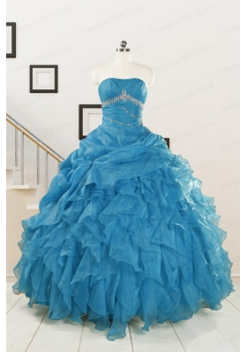 2015 Elegant Strapless Blue Quinceanera Dresses with Beading and Ruffles