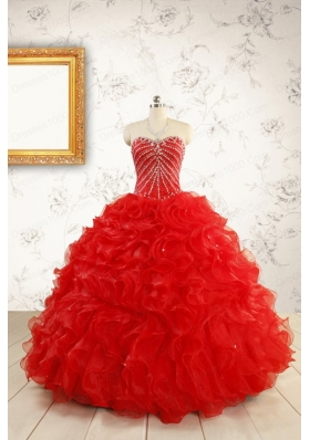 2015 Luxurious Sweetheart Beading Red Quinceanera Dresses