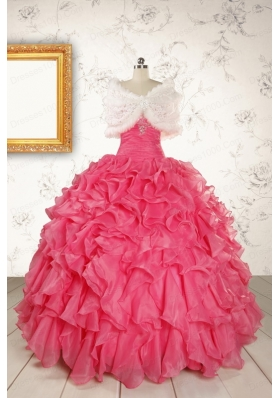 2015 Pretty Beading and Ruffles Red Quinceanera Dresses with Strapless