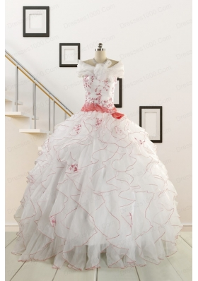 2015 Pretty Quinceanera Dresses with Appliques and Belt