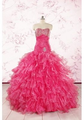 2015 Top Seller Sweetheart Hot Pink Quinceanera Dresses with  Ruffles