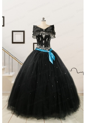 Cheap Black Quinceanera Dresses with Appliques