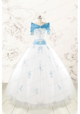 Discount White Quinceanera Dresses with Appliques for 2015