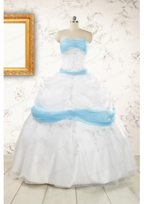 Elegant Ball Gown Quinceanera Dress in White and Baby Blue