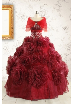 New Style Ball Gown Wine Red Quinceanera Dresses for 2015