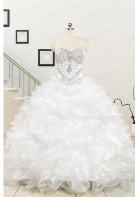 New Sweetheart Sweep Train Beading and Ruffles Quinceanera Dress for 2015