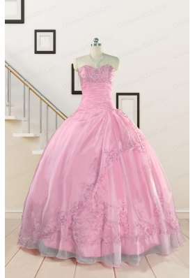 Pretty Baby Pink Quinceanera Dresses with Beading and Appliques for 2015