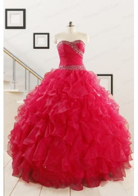 Pretty Ball Gown Sweetheart 2015 Sweet 16 Dresses in Coral Red