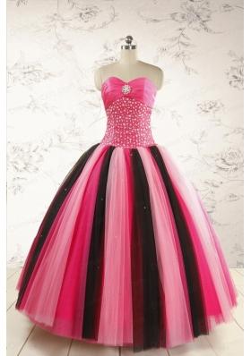 Unique Multi-color 2015 Quinceanera Dresses with Beading