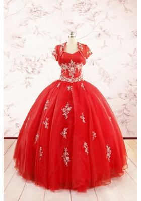 2015 Ball Gown Sweetheart Appliques Quinceanera Dresses