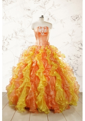 2015 Luuxurious Strapless Appliques and Ruffles Puffy Quinceanera Dresses