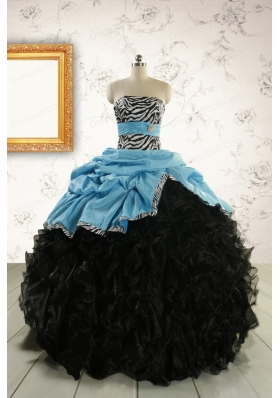 2015 Prefect Ruffles White Quinceanera Dresses with Zebra