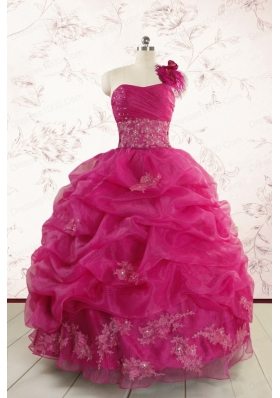 2015 Cheap Appliques Quinceanera Dresses in Fuchsia