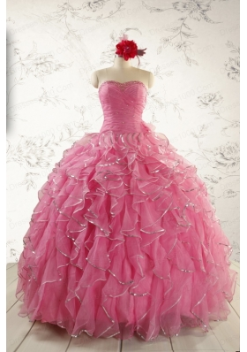 2015 Pretty Beading Quinceanera Dresses in Rose Pink