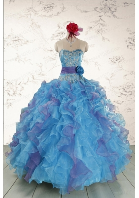 2015 Pretty Strapless Appliques and Ruffles QuinceDress in Multi Color