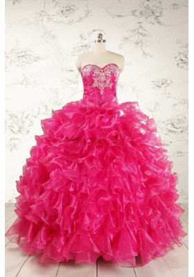 Beautiful Hot Pink Sweet 15 Dresses with Appliques and Ruffles