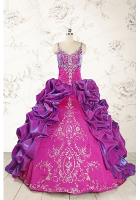 Classic Ball Gown Embroidery Court Train Quinceanera Dresses in Multi Color